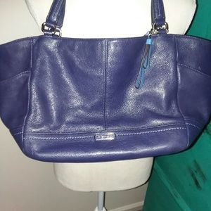 Purple coach purse with blue inside
